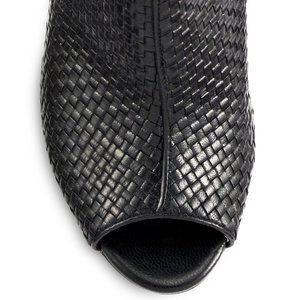 Stuart Weitzman Woven Leather Open Toe Ankle Boots